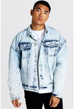 Drop Shoulder Oversized Denim Jacket In Acid Wash, Blue, HOMMES