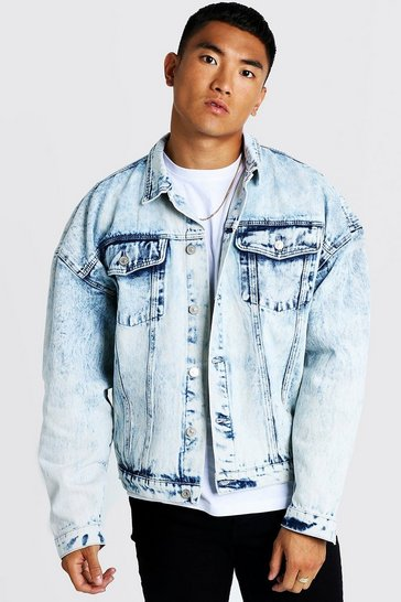 Mens Blue Drop Shoulder Oversized Denim Jacket In Acid Wash
