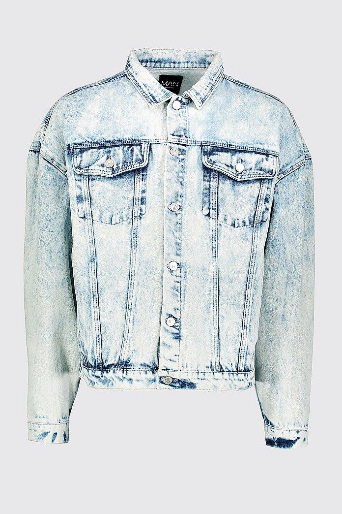 Oversized Jacke aus Jeans mit Acid Waschung und abfallender Schulter boohooMAN