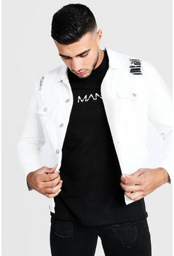 Mens White Denim Jacket With Distressing