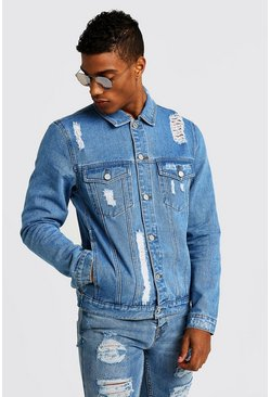 Denim Jacket With Distressing, Blue, HOMMES