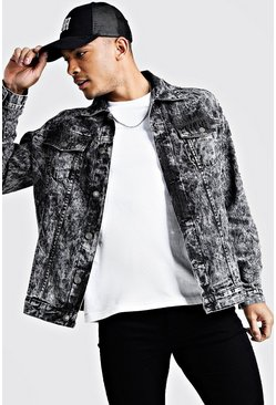 Mens Black Loose Fit Acid Wash Denim Jacket