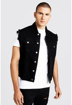 Mens Black Oversized Sleeveless Denim Jacket