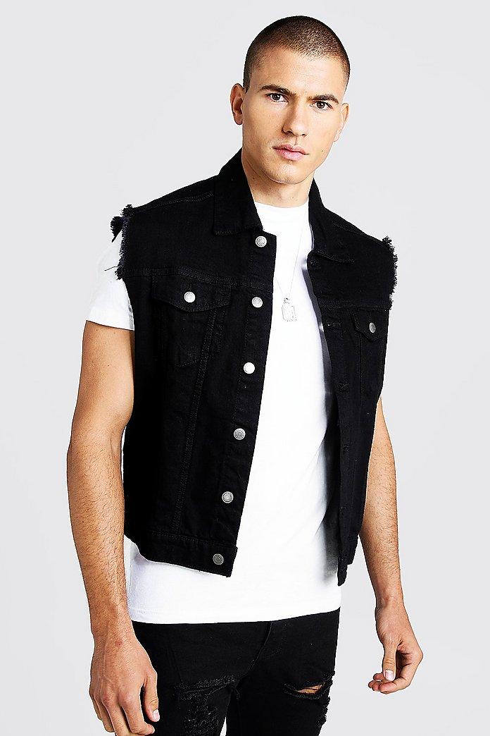 limpid in sight yet not vulgar lowest price Oversized Sleeveless Denim Jacket - boohooMAN