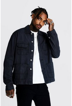 Mens Charcoal 4 Pocket Denim Jacket