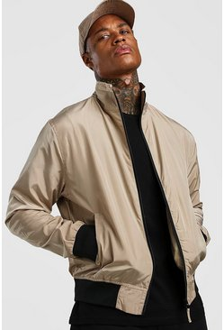 Stone Nylon Collared Bomber Jacket