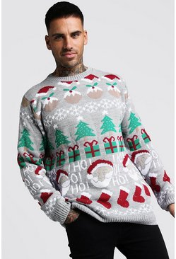 Mens Grey All Over Festive Knitted Christmas Jumper