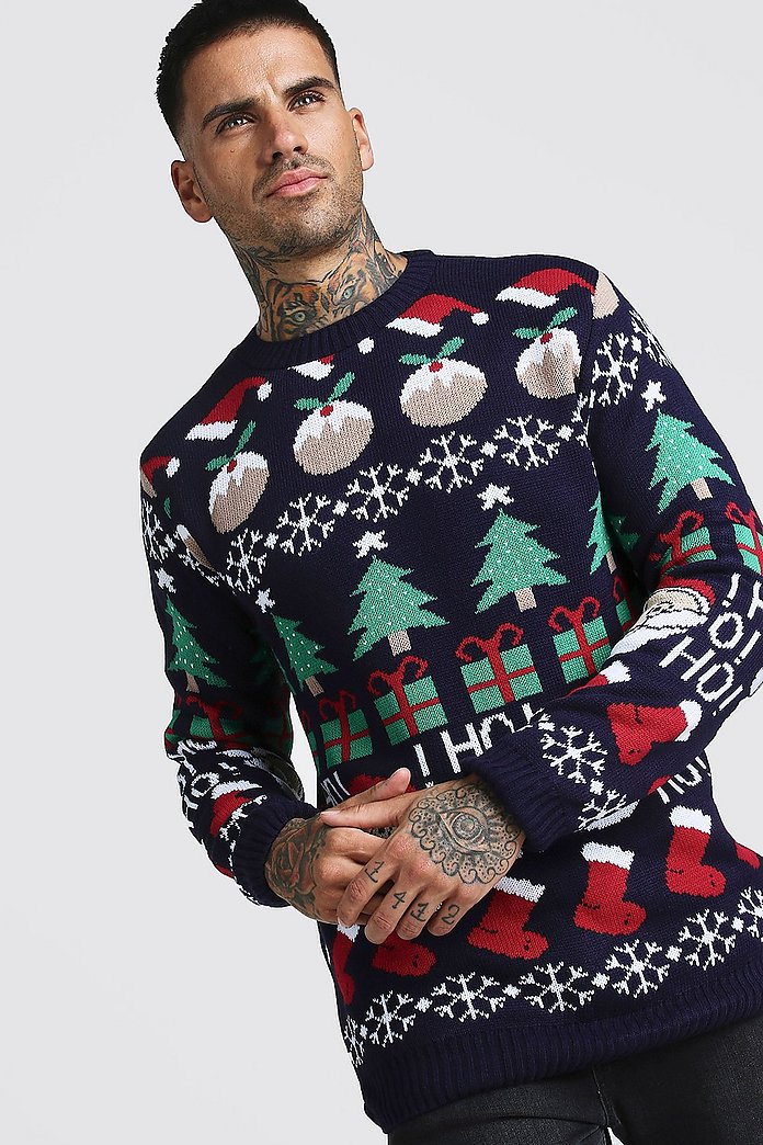 All Over Festive Knitted Christmas Jumper | boohooMAN Australia