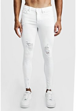 Herr White Super Skinny Jeans With Raw Hem
