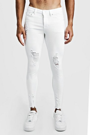 Mens White Super Skinny Jeans With Raw Hem