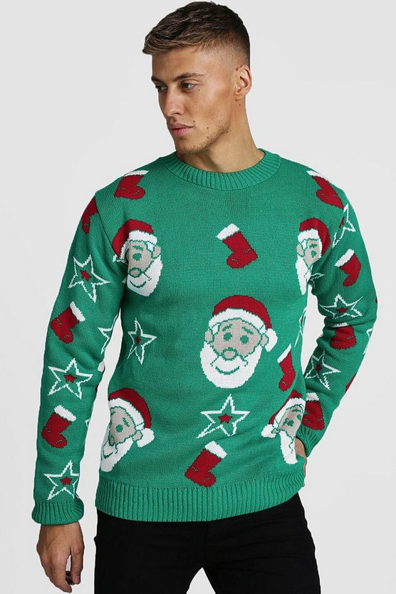 Mens Green All Over Santa Knitted Christmas Jumper