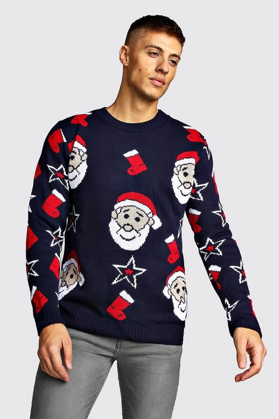 Mens Navy All Over Santa Knitted Christmas Jumper