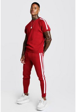 Mens Red Knitted T-Shirt & Jogger Set With Side Stripe