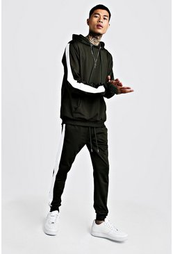 Mens Green Tricot Hooded Tracksuit With Contrast Panels