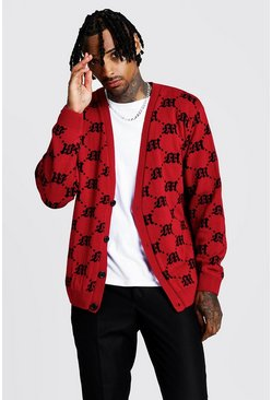 Herr Red Oversized Gothic M All Over Print Knitted Cardigan