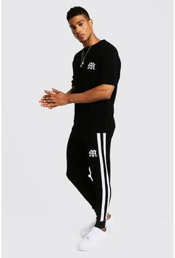 Gothic M Knitted T-Shirt & Jogger Set, White, Uomo