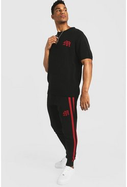 Mens Red Gothic M Knitted T-Shirt & Jogger Set