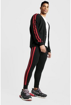 Mens Black Knitted Cardigan & Jogger Set With Side Stripes