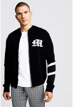 Mens Black Gothic M Knitted Bomber Jacket