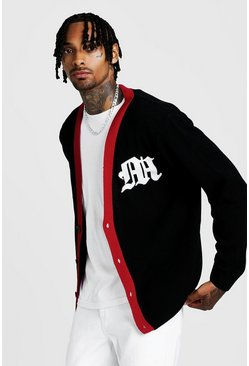 Mens Black Gothic M Knitted Varsity Cardigan