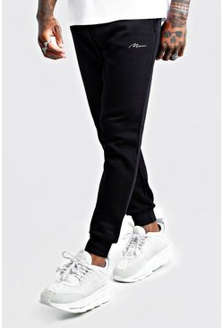 Jogging coupe slim MAN Signature, Noir, Homme