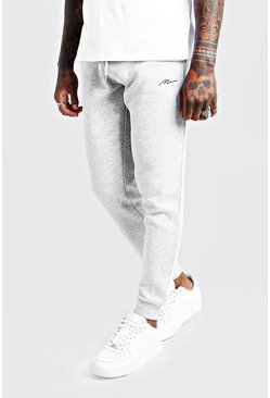 Mens Grey MAN Signature Skinny Fit Jogger