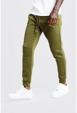 Mens Khaki MAN Signature Skinny Fit Jogger