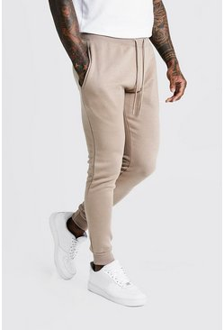 Mens Taupe Super Skinny Joggers