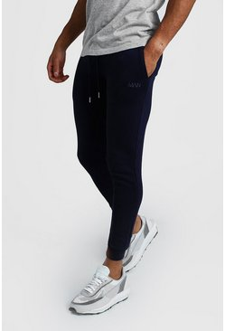 Super Skinny Jogginghosen mit MAN Dash, Marineblau
