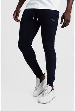 Mens Navy MAN Signature Super Skinny Joggers