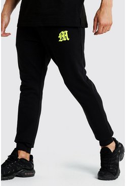 M Embroidered Slim Fit Jogger, Black, HOMBRE