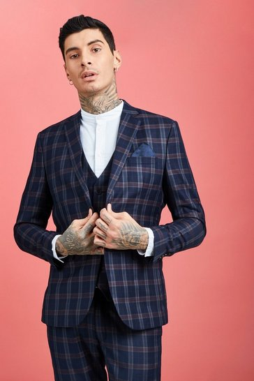Navy Skinny Fit Check Suit Jacket