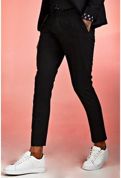 Black Skinny Fit Plain Suit Trouser