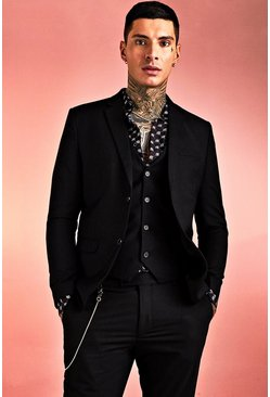 Mens Black Plain Skinny Fit Suit Jacket