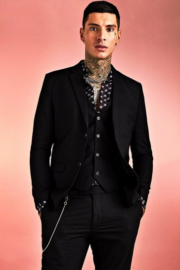 Black Plain Skinny Fit Suit Jacket