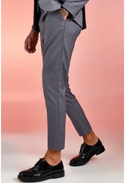 Grey Plain Skinny Fit Suit Pants