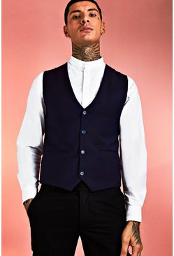 Navy Skinny Fit Plain Vest