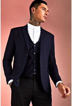 Navy Plain Skinny Fit Suit Jacket