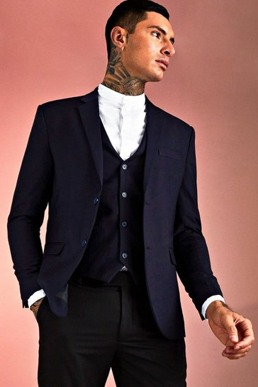 Navy Skinny Fit Plain Suit Jacket