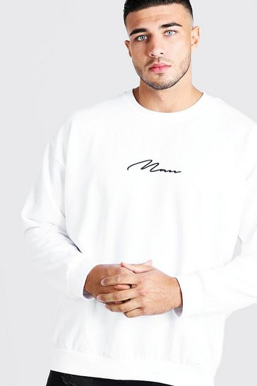Mens White MAN Oversized Embroidered Sweater