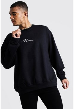 MAN Oversized Embroidered Sweater, Black, HERREN