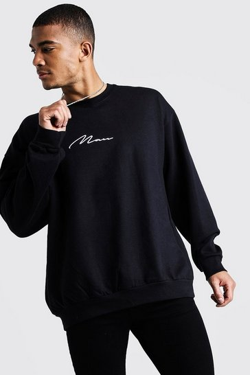 Mens Black MAN Oversized Embroidered Sweater