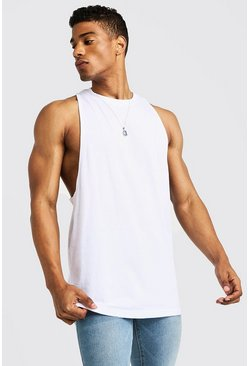 Mens White Racer Back Vest