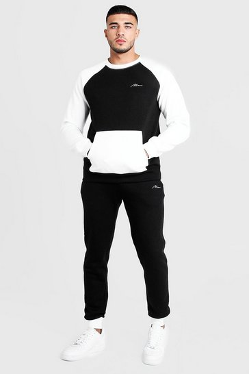 Mens Black MAN Colour Block Sweater Tracksuit