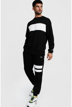 Mens Black Sweater Panelled Tracksuit With Woven MAN