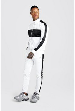 Mens White MAN Tricot Funnel Neck Colour Block Tracksuit