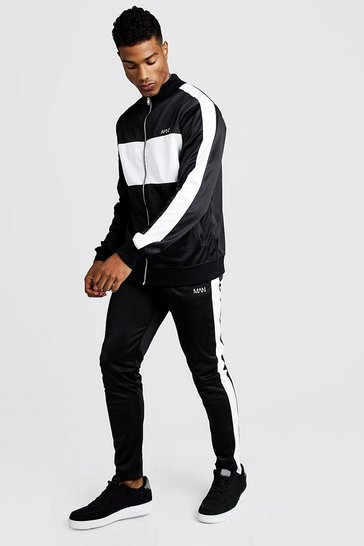 Mens Black MAN Tricot Funnel Neck Colour Block Tracksuit