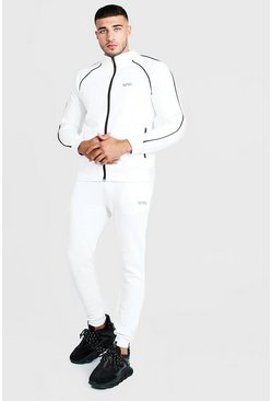 Mens White MAN Zip Tracksuit With Contrast