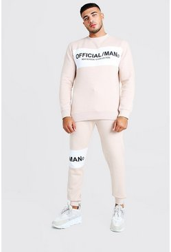 Mens Dusky pink Official MAN Colour Block Sweater Tracksuit