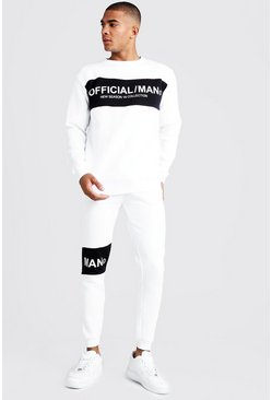 Mens White Official MAN Colour Block Sweater Tracksuit
